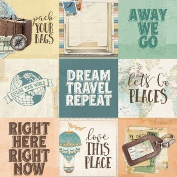 "Simple Stories   simple vintage Traveler "" 10458 4 x 4 Elements"""
