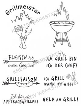 "Efco Clear Stamp Set A7 ""Grillmeister"""