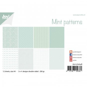 "Joycrafts Papierset "" Mint patterns"" Hintergrundpapiere"