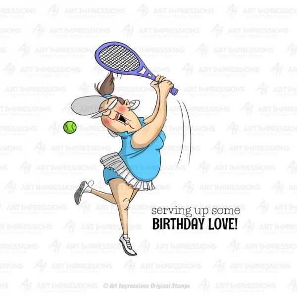 "Art Impressions Gummistempel ""Golden Oldies  -4529 Tennis-Lady -serving up some Birthday Love"""